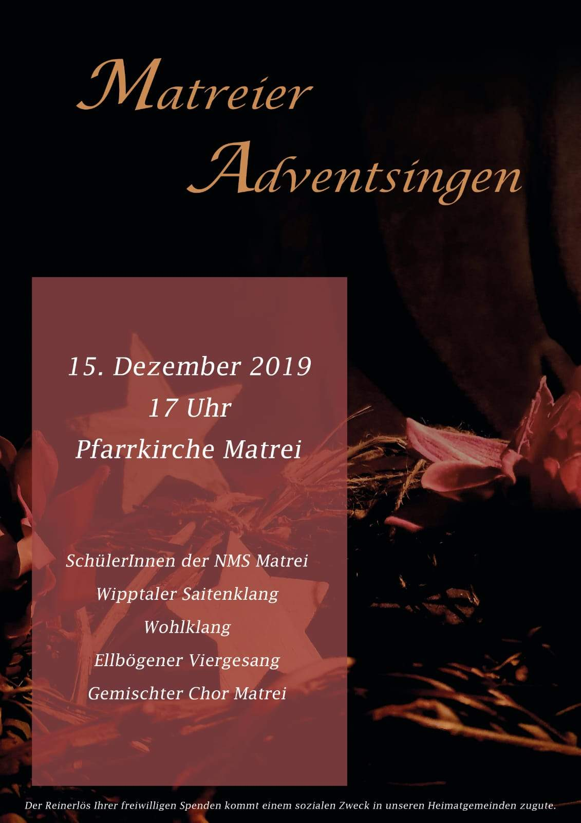 2019 Matreier Adventsingen Plakat